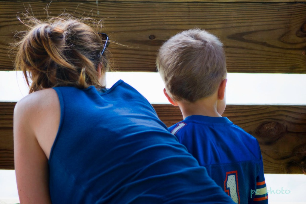 Blue : Mom & son dressed in blue1
