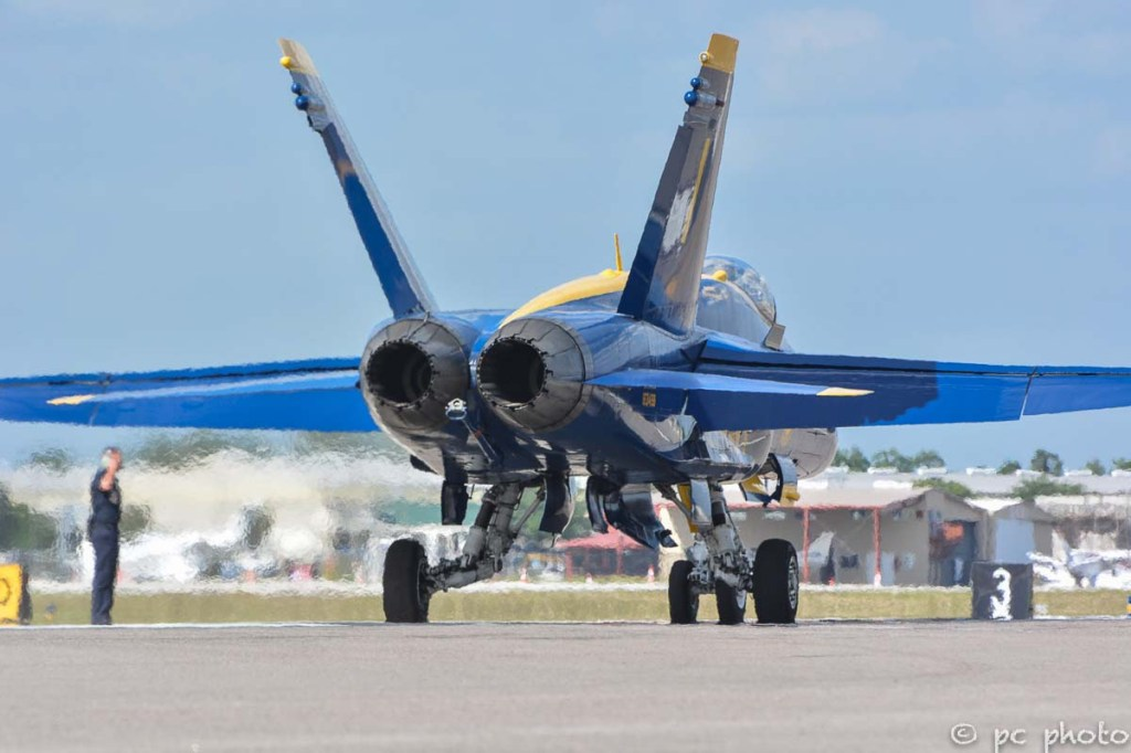 #5 Blue Angels jet taxiing on runway-322