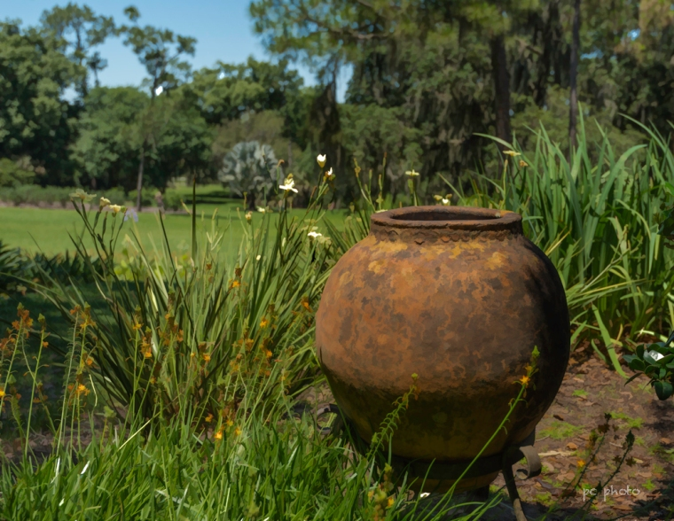 Urn by the house landscape